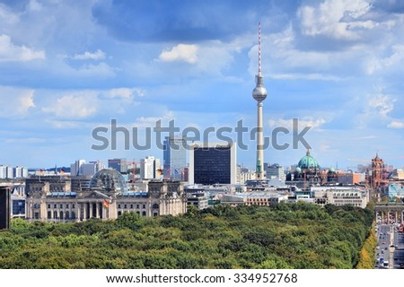 Berlin, Germany. Capital city skyline with Tiergarten park and the TV tower. - stock photo