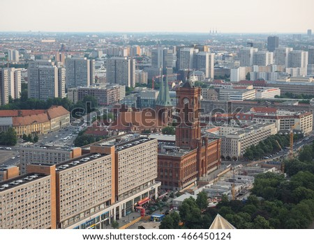 BERLIN, GERMANY - CIRCA JUNE 2016: Aerial view of the city from Alexanderplatz
