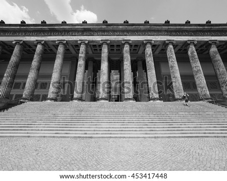 BERLIN, GERMANY - CIRCA JUNE 2016: Altes Museum (meaning Museum of Antiquities) in Museumsinsel (meaning Museums Island) in black and white