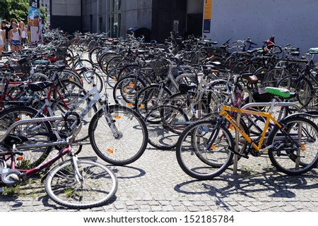BERLIN, GERMANY, CIRCA 2013 - The bike parking in city center circa 2013 in Berlin, Germany