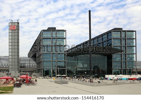 BERLIN, GERMANY, CIRCA 2013 - The Central Railway Station with square circa 2013 in Berlin, Germany