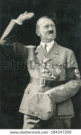 BERLIN, GERMANY, CIRCA 1938 - Vintage portrait of Adolf Hitler, leader of nazi Germany - stock photo