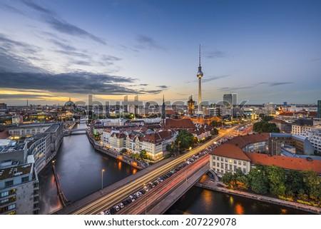 Berlin, Germany city skyline at dusk. - stock photo