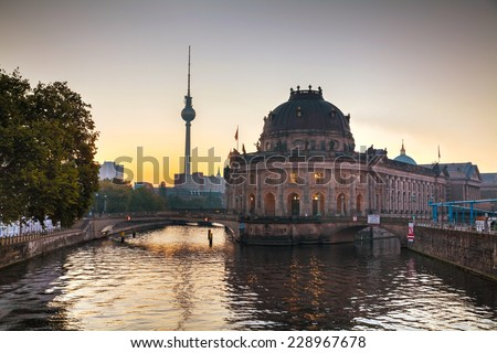 Berlin, Germany cityscape early in the morning - stock photo