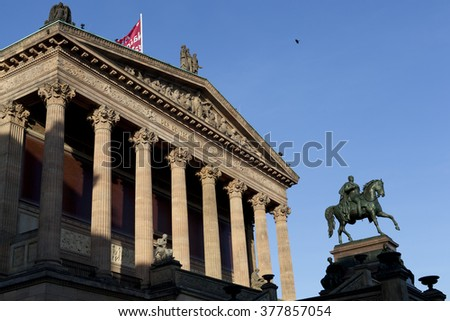 BERLIN GERMANY - 31 DECEMBER 2015: Alte Nationalgallerie. Facade with colonnade, equestrian statue.