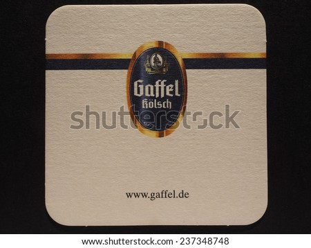 BERLIN, GERMANY - DECEMBER 11, 2014: Beermat of German beer Gaffel - stock photo