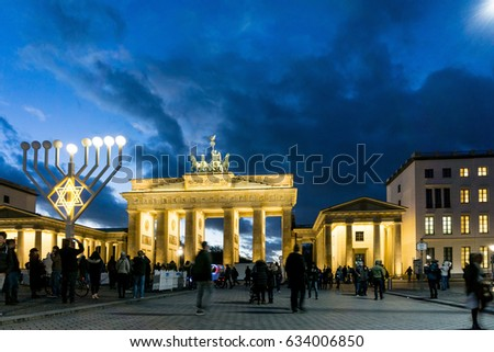 BERLIN, GERMANY- December 24, 2016: Brandenburg Gate (Brandenburger Tor) famous landmark in Berlin, Germany,rebuilt in the late 18th century as a neoclassical triumphal arch in Berlin