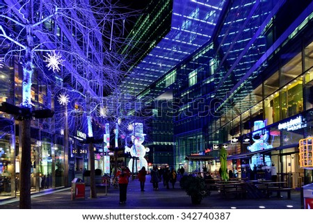 BERLIN, GERMANY-DECEMBER 23, 2014: Christmas illuminations in Berlin