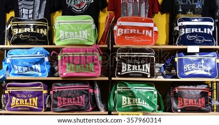 BERLIN, GERMANY - DECEMBER 30, 2015: Shelves of Souvenir Bags in Berlin Store