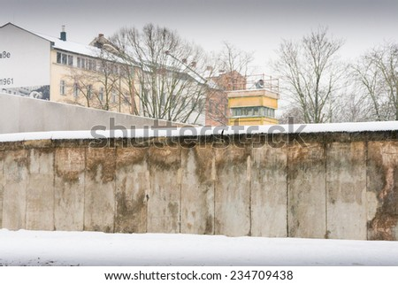 BERLIN, GERMANY - DECEMBER 17: The berlin wall memorial on December 17, 2010 in Berlin. The berlin wall memorial in Bernauer Strasse in winter covered with snow.