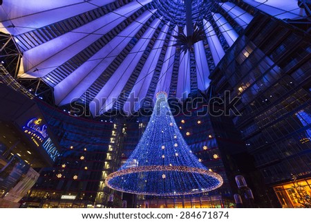 BERLIN, GERMANY - DECEMBER 26, 2014: The Sony Center with christmas decoration on Potsdamer Platz. Sony Center located at the Potsdamer Platz is a Sony-sponsored building complex, opened in 2000 year.