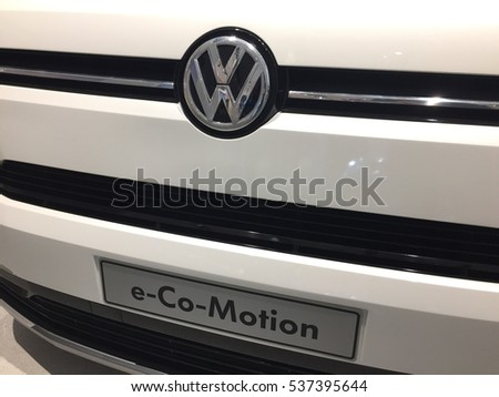 Berlin, Germany - December 11, 2016: Volkswagen e-Co-Motion emblem on the front from a car. Volkswagen Group is a German automobile manufacturing group based in Wolfsburg, Germany, and founded in 1937