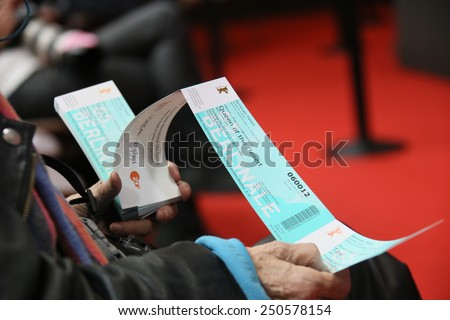 BERLIN, GERMANY - FEBRUARY 06:   A Berlinale movie ticket  attends the '45 Years'  press conference during the 65th Berlinale Film Festival at Grand Hyatt Hotel on February 6, 2015 in Berlin, Germany - stock photo