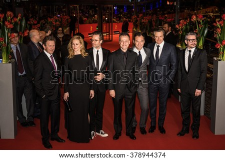 Berlin, Germany - February 16, 2016  - Actors Colin Firth, Laura Linney, Jude,director Michael Grandage and actor Guy Pearce attend the 'Genius' premiere during the 66th Berlinale Film Festival - stock photo