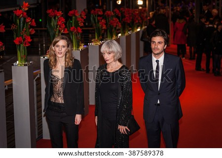 Berlin, Germany - February 13, 2016  - Actress Edith Scob, director Mia Hansen-Love, actors Roman Kolinka and Isabelle Huppert attend the 'Things to Come' (L'avenir) premiere during the 66th Berlinale - stock photo