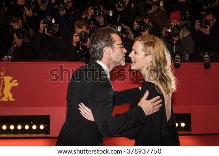 Berlin, Germany - February 16, 2016  - Actress Laura Linney and actor Guy Pearce attend the 'Genius' premiere during the 66th Berlinale International Film Festival - stock photo