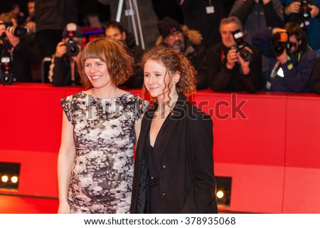 Berlin, Germany - February 17, 2016  - Actresses Martha Sofie Wallstrom and Anne Gry Henningsen attends the 'The Commune' (Kollektivet) premiere during the 66th Berlinale International Film Festival - stock photo