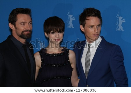 BERLIN, GERMANY - FEBRUARY 09: Anne Hathaway, Hugh Jackman attend the 'Les Miserables' Photocall during the 63rd Berlinale  Film Festival at Grand Hyatt Hotel on February 9, 2013 in Berlin, Germany - stock photo