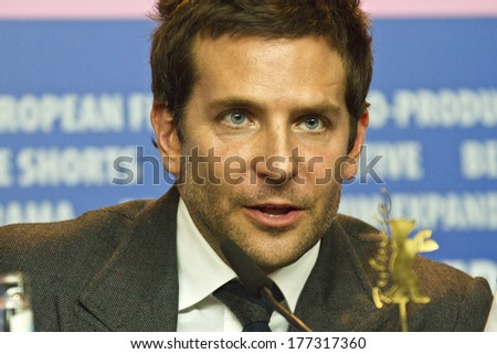 BERLIN, GERMANY - FEBRUARY 07: Bradley Cooper attends the 'American Hustle' press conference during 64th Berlinale  Film Festival at Grand Hyatt Hotel on February 7, 2014 in Berlin, Germany. - stock photo