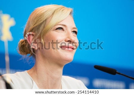BERLIN, GERMANY - FEBRUARY 13: Cate Blanchett, 'Cinderella' press conference, 65th Berlinale International Film Festival at Grand Hyatt Hotel on February 13, 2015 in Berlin, Germany - stock photo