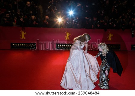 BERLIN, GERMANY - FEBRUARY 13: Cate Blanchett, Lily James attend the 'Cinderella' premiere during the 65th Berlinale Film Festival at Berlinale Palace on February 13, 2015 in Berlin, Germany. - stock photo