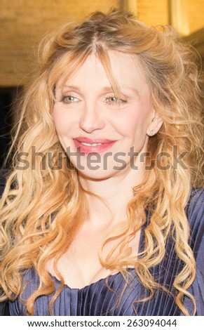BERLIN, GERMANY - FEBRUARY 07: Courtney Love attend the 'Cobain: Montage of Heck' premiere during the 65th Berlinale International Film Festival at Kino International on February 7, 2015  - stock photo