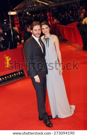 BERLIN, GERMANY - FEBRUARY 14:  Daniel Bruehl and his girlfriend Felicitas Rombold  attend the Closing Ceremony of the 65th Berlinale International Festival on February 14, 2015 in Berlin, Germany. - stock photo