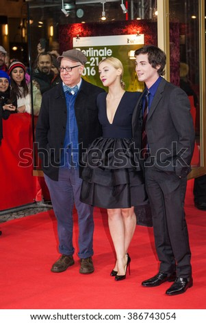 Berlin, Germany - February 14, 2016  - Director James Schamus, actress Sarah Gadon and actor Logan Lerman attend the 'Indignation' premiere during the 66th Berlinale International Film Festival - stock photo