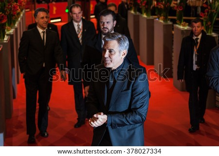 Berlin, Germany - February 11, 2016 -George Clooney attends the 'Hail, Caesar!' premiere during the 66th Berlinale International Film Festival - stock photo