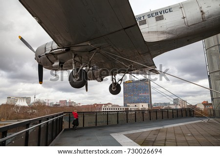 BERLIN, GERMANY - FEBRUARY 22, 2017: German museum of Technology in Berlin. Roof with a plane.