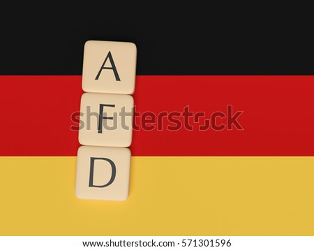 BERLIN, GERMANY - FEBRUARY 3, 2017: German Politics Concept: Letter Tiles AFD, 3d illustration with German Flag