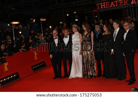 BERLIN, GERMANY - FEBRUARY 06: Greta Gerwig, Christoph Waltz   attend 'The Grand Budapest Hotel' Premiere during the 64th Berlinale Film Festival at Palast on February 6, 2014 in Berlin, Germany