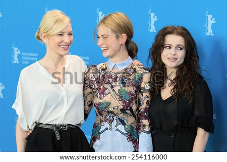 BERLIN, GERMANY - FEBRUARY 13: H. B. Carter, L. James, C. Blanchett  'Cinderella' photocall. 65th Berlinale International Film Festival at Hyatt Hotel on February 13, 2015 in Berlin, Germany - stock photo
