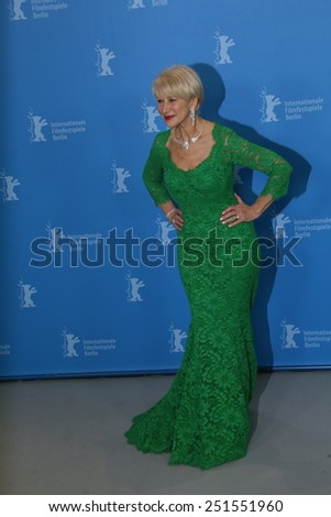 BERLIN, GERMANY - FEBRUARY 09:  Helen Mirren attends the 'Woman in Gold' photocall during the 65th Berlinale Festival at Grand Hyatt Hotel on February 9, 2015 in Berlin, Germany. - stock photo