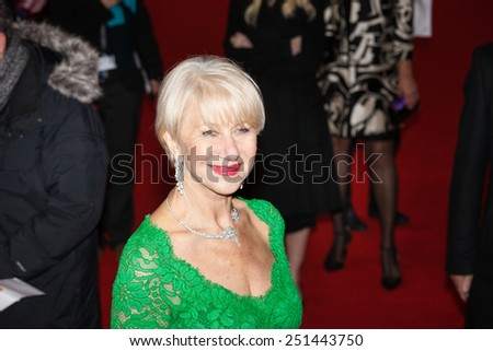 BERLIN, GERMANY - FEBRUARY 09: Helen Mirren attends the 'Woman in Gold' premiere during the 65th Berlinale International Film Festival at Friedrichstadt-Palast on February 9, 2015 in Berlin, Germany. - stock photo