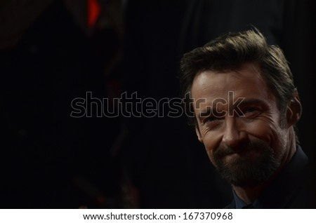 "BERLIN - GERMANY - FEBRUARY 9: Hugh Jackman at the 63rd Annual Berlinale International Film Festival ""Les Miserables"" premiere at Friedrichstadtpalast on February 9, 2013 in Berlin, Germany. - stock photo"