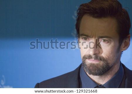 BERLIN, GERMANY - FEBRUARY 09: Hugh Jackman attends the 'Les Miserables' Photocall during the 63rd Berlinale  Film Festival at Grand Hyatt Hotel on February 9, 2013 in Berlin, Germany. - stock photo