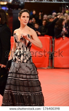 "BERLIN - GERMANY - FEBRUARY 12: Jennifer Connelly at the 64th Annual Berlinale International Film Festival ""Aloft"" premiere at Berlinale Palast on February 12, 2014 in Berlin, Germany.   - stock photo"