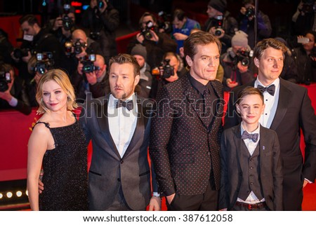Berlin, Germany - February 12, 2016 - Kirsten Dunst, Joel Edgerton, Michael Shannon, Jaeden Lieberher and Jeff Nichols attend the 'Midnight Special' premiere during the 66th Berlinale Film Festival - stock photo