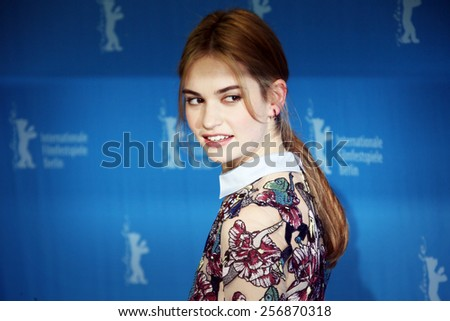 BERLIN, GERMANY - FEBRUARY 13:  Lily James attends the 'Cinderella' photocall during the 65th Berlinale International Film Festival at Grand Hyatt Hotel on February 13, 2015 in Berlin, Germany. - stock photo