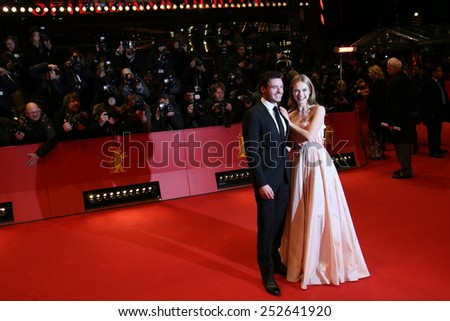 BERLIN, GERMANY - FEBRUARY 13: Lily James, Richard Madden attends the 'Cinderella' premiere during the 65th Berlinale Film Festival at Berlinale Palace on February 13, 2015 in Berlin, Germany. - stock photo