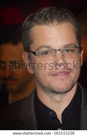 BERLIN, GERMANY - FEBRUARY 08: Matt Damon attends 'The Monuments Men' premiere during 64th Berlinale International Film Festival at Berlinale Palast on February 8, 2014 in Berlin, Germany. - stock photo
