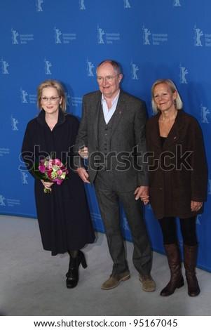 BERLIN, GERMANY - FEBRUARY 14: Meryl Streep, Jim Broadbent, Phyllida Lloyd attend 'The Iron Lady' Photocall during of the 62nd Berlin  Festival at the Hyatt on February 14, 2012 in Berlin, Germany. - stock photo