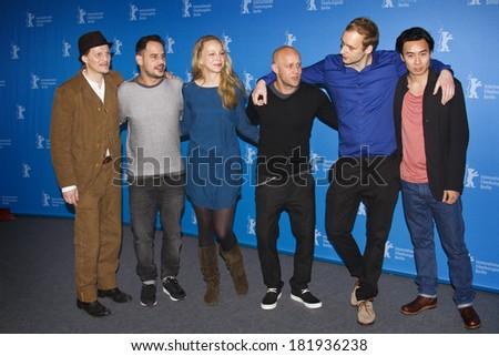 BERLIN, GERMANY - FEBRUARY 08: Moritz Bleibtreu and Jurgen Vogel attend 'Stereo' photocall during 64th Berlinale Film Festival at Grand Hyatt Hotel on February 8, 2014 in Berlin, Germany.  - stock photo