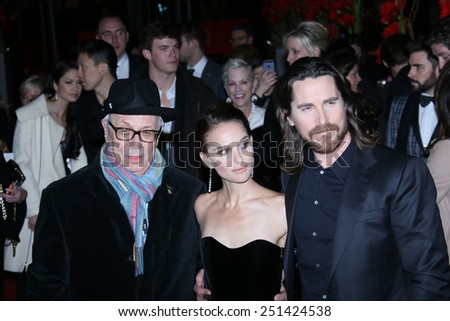 BERLIN, GERMANY - FEBRUARY 08: Natalie Portman, Christian Bale attend the 'Knight of Cups' premiere during the 65th Berlinale  Film Festival at Berlinale Palace on February 8, 2015 in Berlin, Germany. - stock photo
