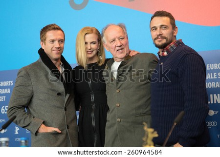 BERLIN, GERMANY - FEBRUARY 06: Nicole Kidman, Damian Lewis, James Franco, Werner Herzog, press conference during the 65th Film Festival at Hyatt Hotel February 6, 2015 in Berlin, Germany. - stock photo