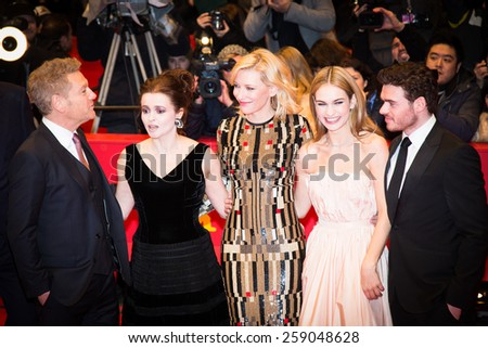 BERLIN, GERMANY - FEBRUARY 13, 2015: Richard Madden, Lily James, Cate Blanchett, Helena Bonham Carter, Kenneth Branagh and Stellan Skarsgard attend the 'Cinderella' premiere during the 65th Berlinale - stock photo
