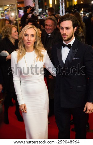BERLIN, GERMANY - FEBRUARY 11: Sam Taylor-Johnson with husband Aaron, 'Fifty Shades of Grey' premiere. 65th Berlinale International Film Festival at Zoo Palast on February 11, 2015 in Berlin, Germany. - stock photo