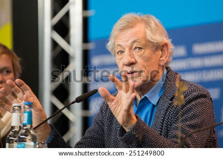 BERLIN, GERMANY - FEBRUARY 08: Sir Ian McKellen attends the 'Mr. Holmes' press conference. 65th Berlinale International Film Festival at Grand Hyatt Hotel on February 8, 2015 in Berlin, Germany. - stock photo