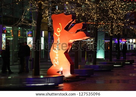 BERLIN, GERMANY � FEBRUARY 7 : Statue of one of the numerous Bears on Berlin streets on FEBRUARY 7, 2013. First Bear statue appeared in 2001 and since that Berlin Bears became the symbol of city.